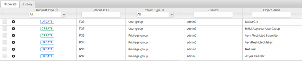Users or Privilege Groups